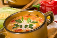 Corn and red chilli chowder Royalty Free Stock Images
