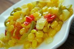 Corn relish. Homemade Canned Pickled Corn relish stock image