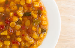 Corn relish in a white dish top view Royalty Free Stock Images