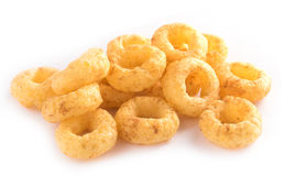 Corn rings on white background Royalty Free Stock Photography
