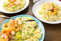 Corn Risotto with Roasted Shrimp Royalty Free Stock Images