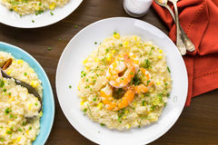 Corn Risotto with Roasted Shrimp Stock Photos