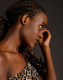 Corn rows in her hair Stock Image