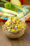 Corn Salad. Grilled Corn and Bacon Salad in a spoon royalty free stock image