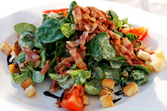 Corn salad. With croutons and bacon strips Stock Photo