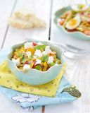 Corn salad with feta. Cheese royalty free stock images