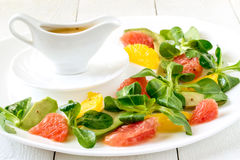 Corn salad with grapefruit, avocado and orange Royalty Free Stock Images