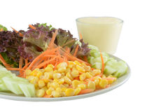 Corn Salad on isolate background with path.  Stock Photo