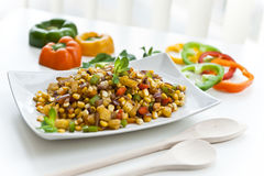 Corn Salad. Salad of Corn and pineapples with Sweet peppers in a plate Royalty Free Stock Image