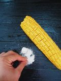 Corn and salt delicious delicacy Royalty Free Stock Photo
