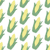Corn. Seamless pattern with spiral corns. Vector Stock Photos