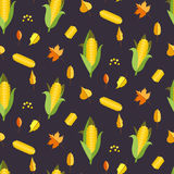 Corn seamless pattern vector illustration. Maize ear or cob. Corn seamless pattern vector illustration. Maize ear or cob autumn purple background. Yellow Stock Photo
