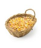 Corn seeds in basket Royalty Free Stock Photos