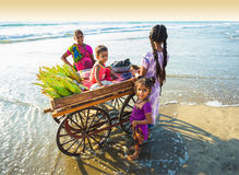 Corn seller on the beach Goa. India, Goa, 6 March 2017. Corn seller on the beach Goa stock photos