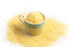 Corn semolina into a cup Stock Photography