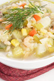 Corn and shrimp chowder Stock Photo