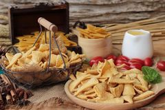 Corn snack and chips corn raw delicious. Stock Photo