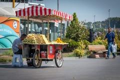 Corn sold on street in ıstanbul, Turkey. Stock Photography