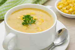 Corn soup in bowl Stock Photo