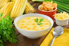 Corn soup. Bowl on wooden background Stock Image