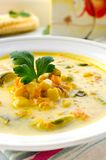 Corn soup with brussels sprouts and other vegetables Stock Image