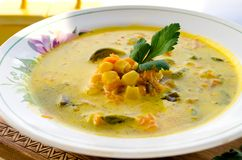 Corn soup with brussels sprouts and other vegetables Royalty Free Stock Photos