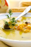 Corn soup with brussels sprouts and other vegetables Royalty Free Stock Photo