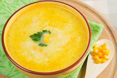 Corn soup. Corn cream soup with parsley Stock Photography