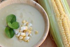 Corn soup of delicious and fresh corn . Corn soup of delicious and fresh corn stock image