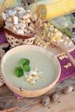 Corn soup of delicious and fresh corn . Corn soup of delicious and fresh corn stock photos