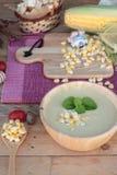 Corn soup of delicious and fresh corn . Corn soup of delicious and fresh corn royalty free stock photos