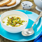 Corn soup with eggs and peppers Royalty Free Stock Photo