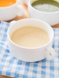 Corn soup. On the table royalty free stock images