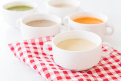 Corn soup. On the table stock image