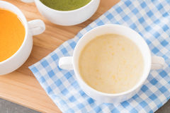 Corn soup. On the table royalty free stock image