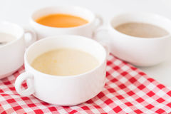 Corn soup. On the table royalty free stock photos
