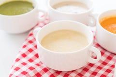 Corn soup. On the table stock photos