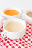Corn soup. On the table stock photography