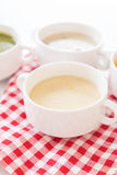 Corn soup. On the table stock photo