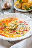 Corn soup with vegetables Stock Image