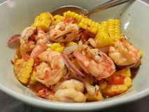 Corn spicy salad with shrimp Stock Images