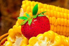 Corn with strawberry Stock Photo