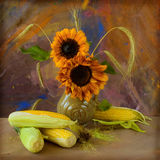 Corn and sunflowers royalty free stock image