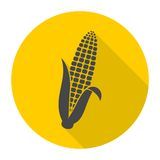 Corn symbol icon with long shadow Stock Image