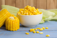 Corn on the table. Close up boiled corn on wood table Stock Image