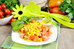 Corn and tomato salad Stock Photos
