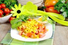 Corn and tomato salad Stock Photos