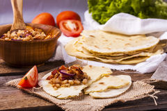 Corn tortilla with bacon Royalty Free Stock Image