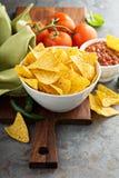 Corn tortilla chips in big bowl Stock Image