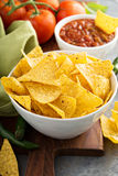 Corn tortilla chips in big bowl Stock Photography
